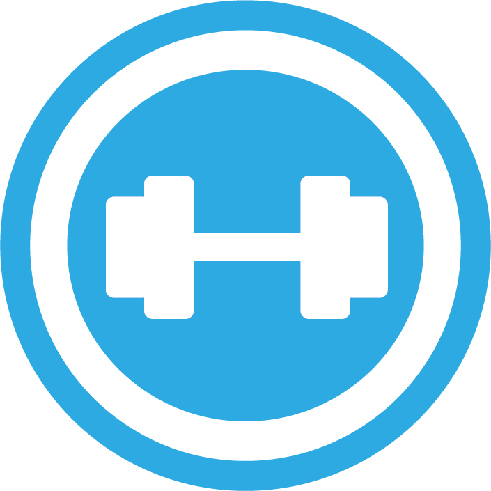 Blue circle with barbell inside